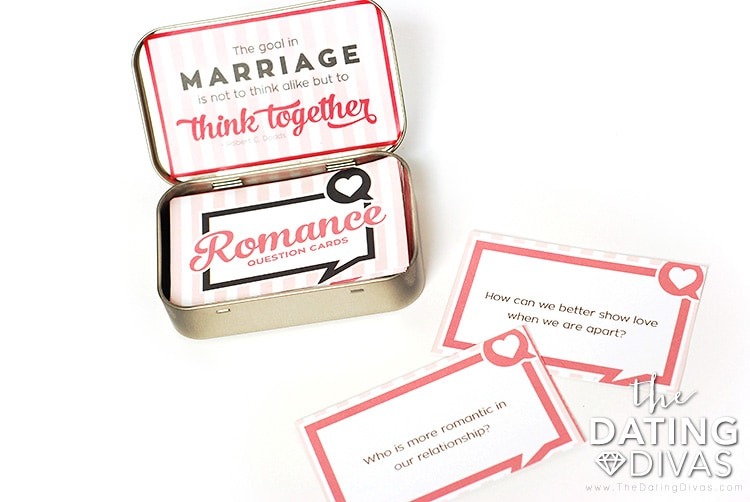 Tin mint turned into card hold for conversation starters for couples cards
