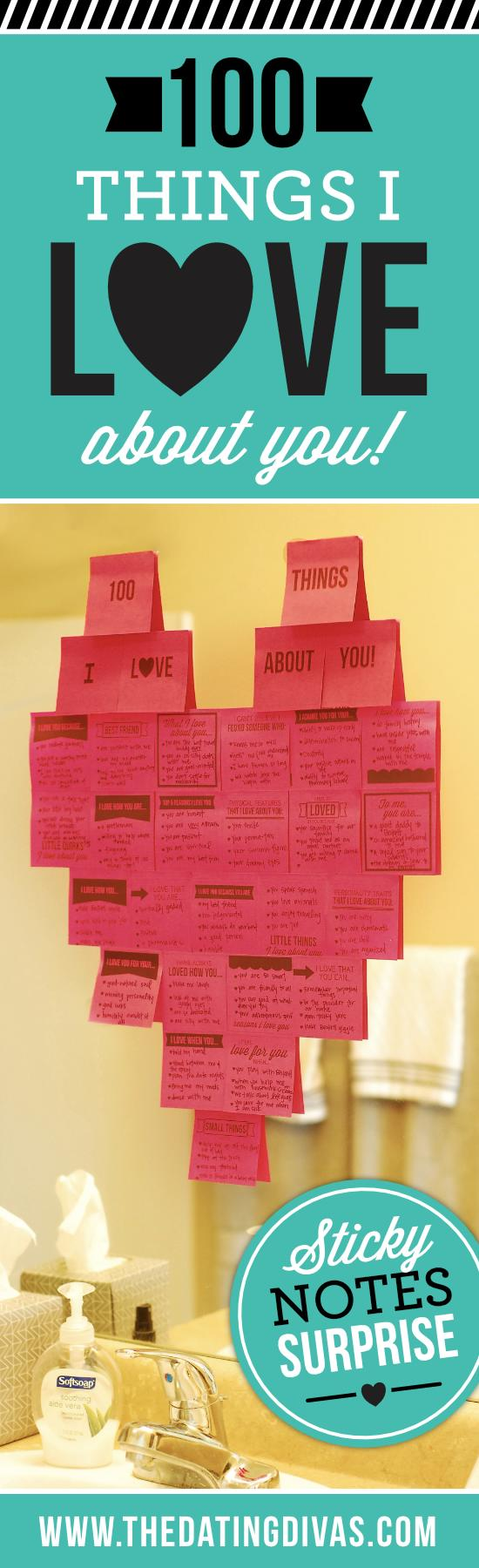 100 Things I Love About You Sticky Note Surprise banner