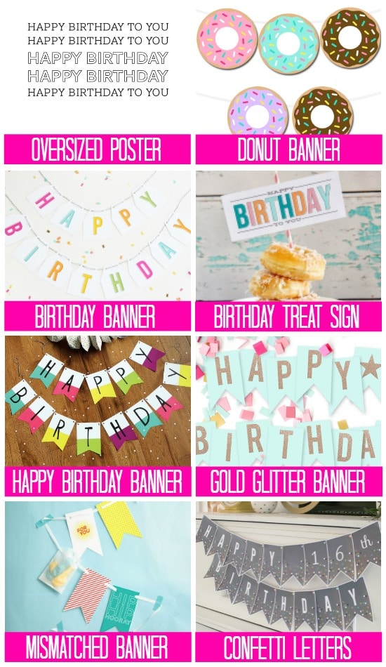 graphic regarding Happy Birthday Printable Banner titled 101 Absolutely free Birthday Printables - The Relationship Divas
