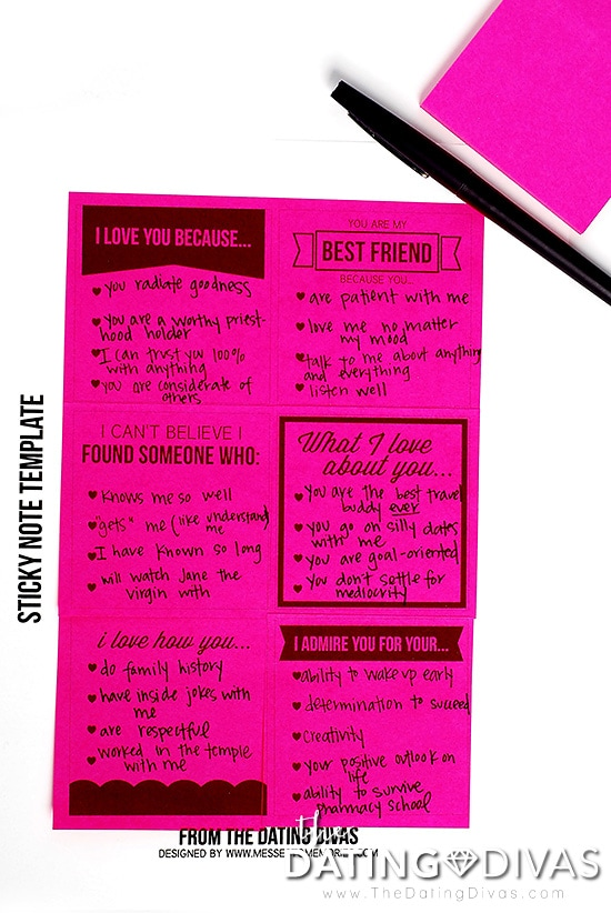 Sticky Note Love Note Template