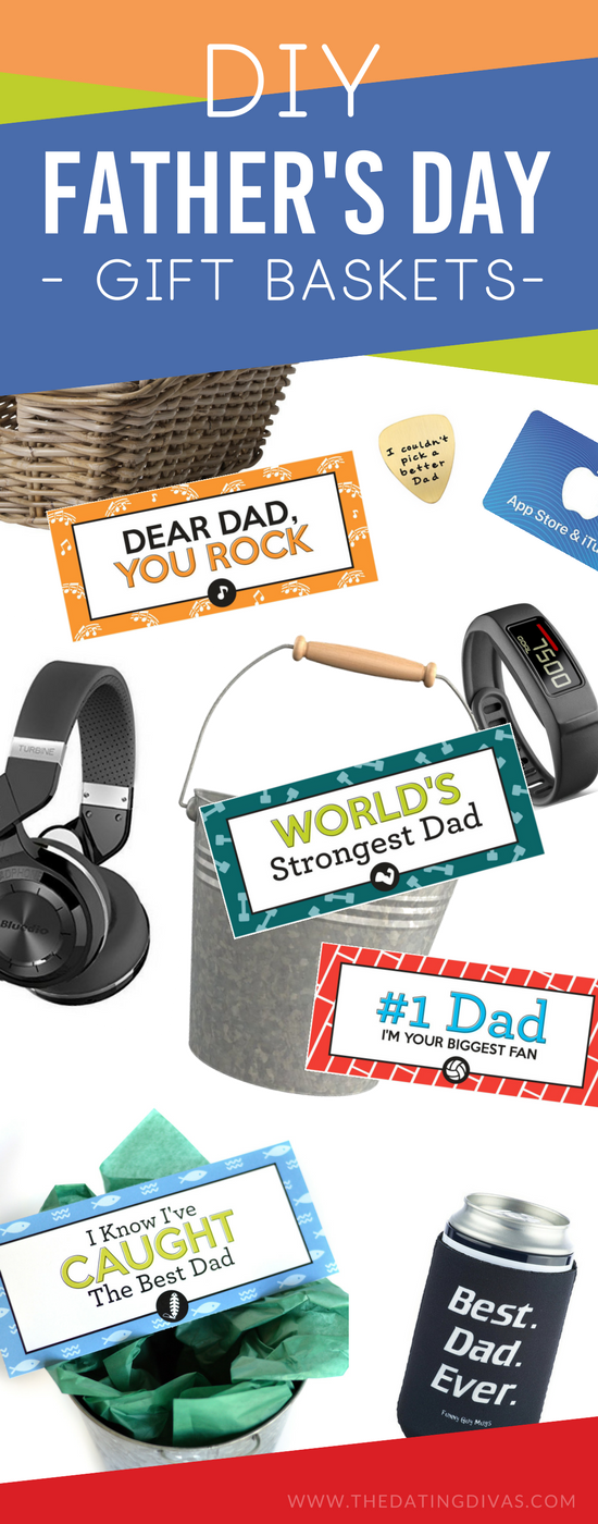 Stop searching for the perfect father's day present, just grab a free Father's Day gift basket tag and a few of the basket filler ideas for an easy, homemade Father's Day gift basket that customized for your DAD! #fathersdaygiftbasket #giftbasketsformen #lastminutefathersdaygift