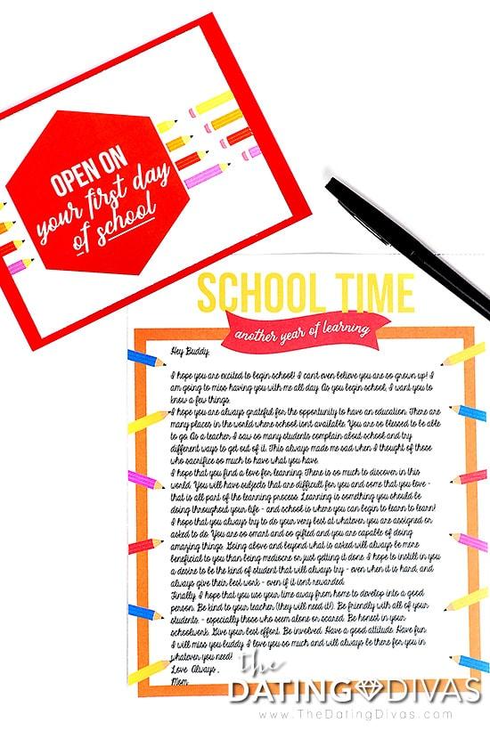 Open When School Time Letter