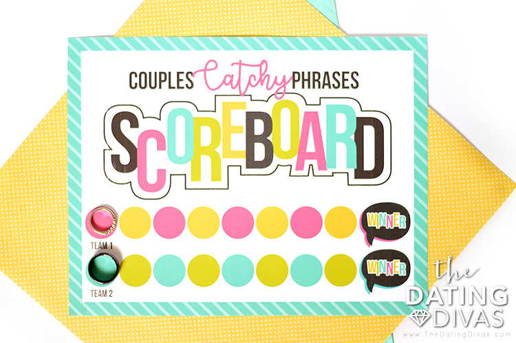 Couples Catchy Phrases Party Game Scoreboard