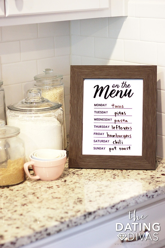 Printable Art Menu for the Kitchen