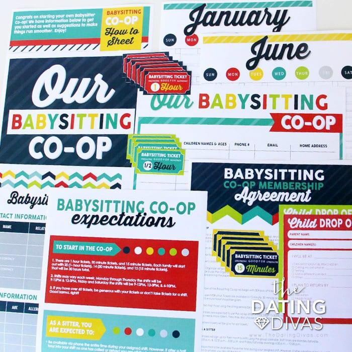Babysitting Co-Op Kit Printables