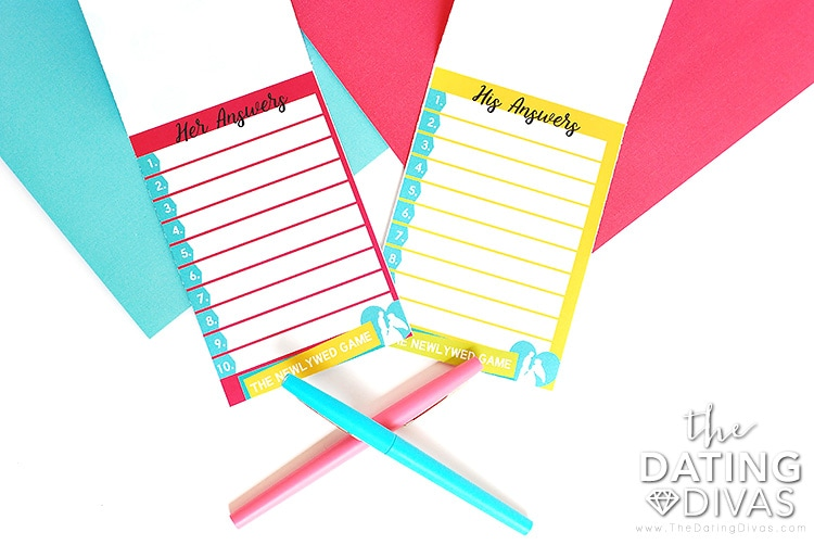The Newlywed Game Answer Cards