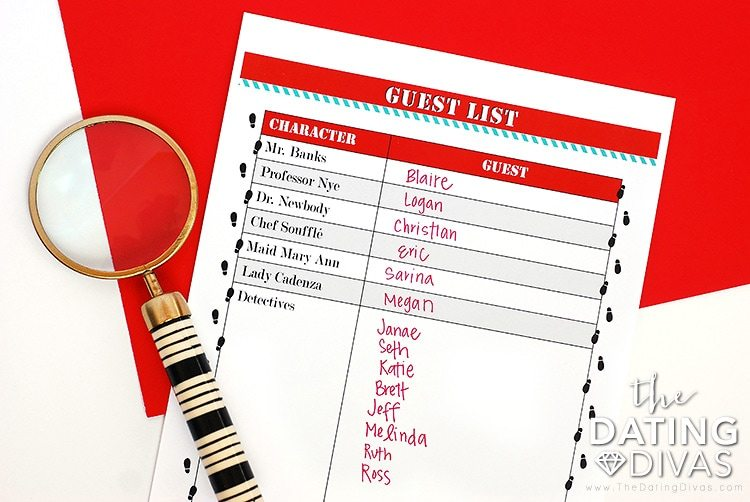 Mystery Detective Game Guest List