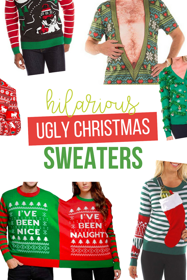 The best ugly Christmas sweaters that are sure to win the annual ugly sweater contest! Funny men's and women's ugly sweaters plus tacky accessories! #UglyChristmasSweaters #DatingDivas