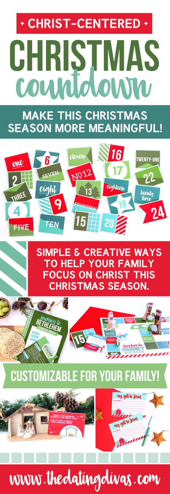 Christ-Centered Christmas Countdown - Christmas activities for the whole family that focus on Christ. #keepchristinchristmas #christmascountdown
