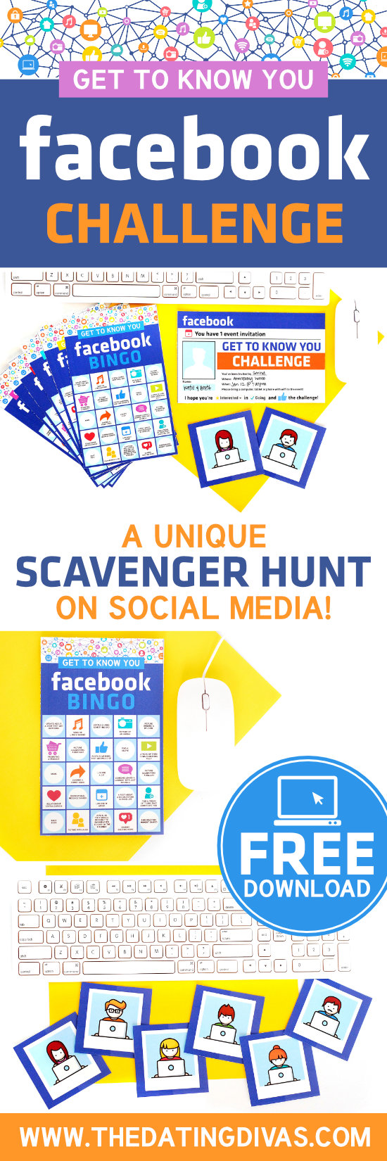 Facebook Scavenger Hunt Get to Know You Game #groupdate #icebreakergame #partygame