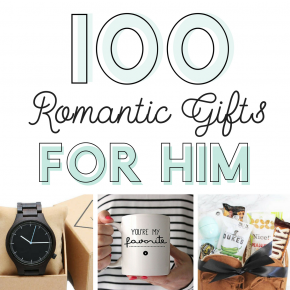 100 romantic gifts for him banner with 3 gift ideas