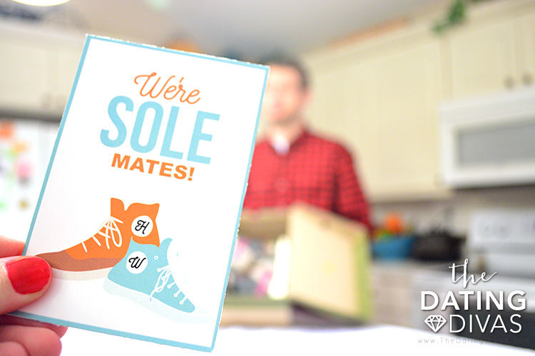 "Tell your spouse they're your ""sole"" mate with this punny gift tag."