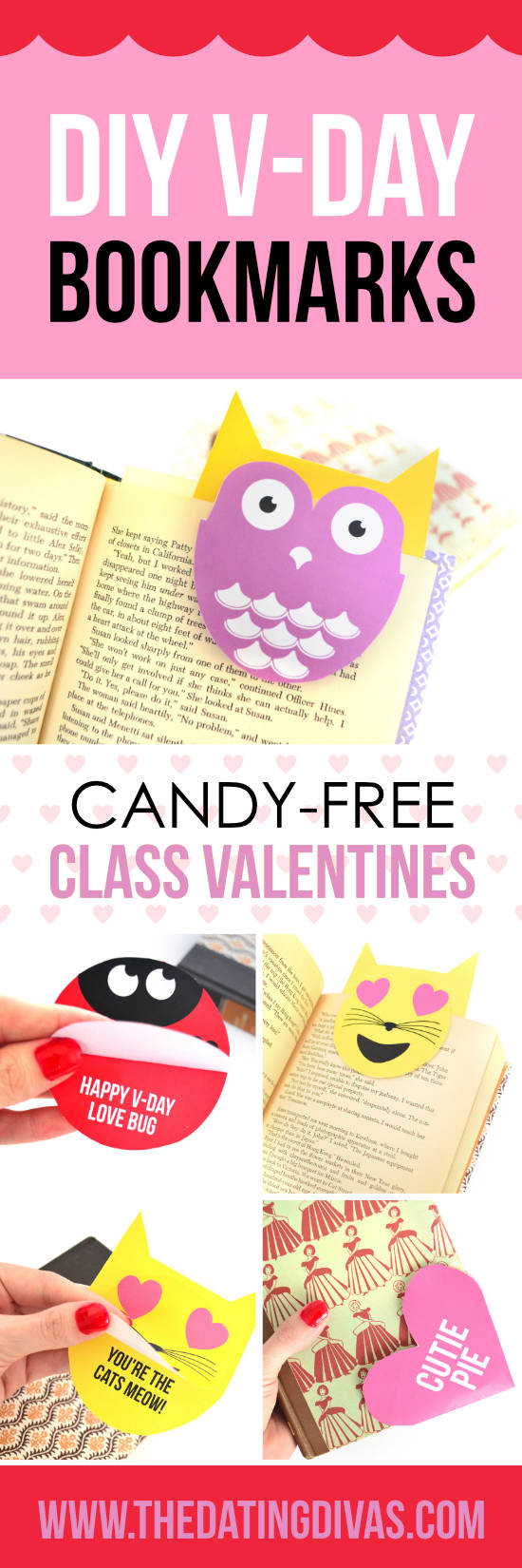 Candy Free V-Day Bookmarks. #VDay #ValentinesBookmarks