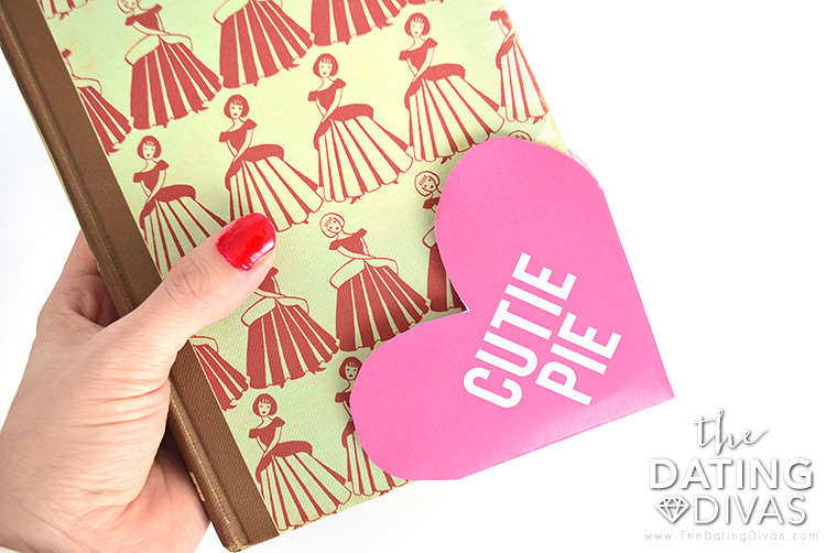 Valentine's Day origami bookmarks.