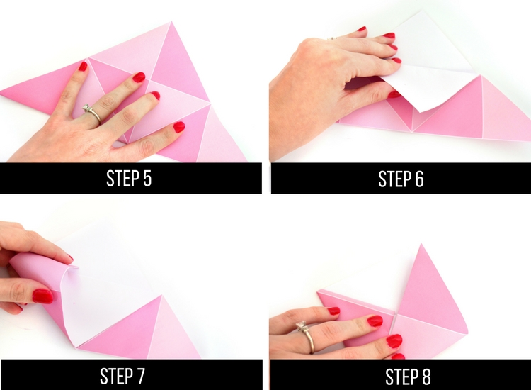 Origami steps for Valentine's Day.