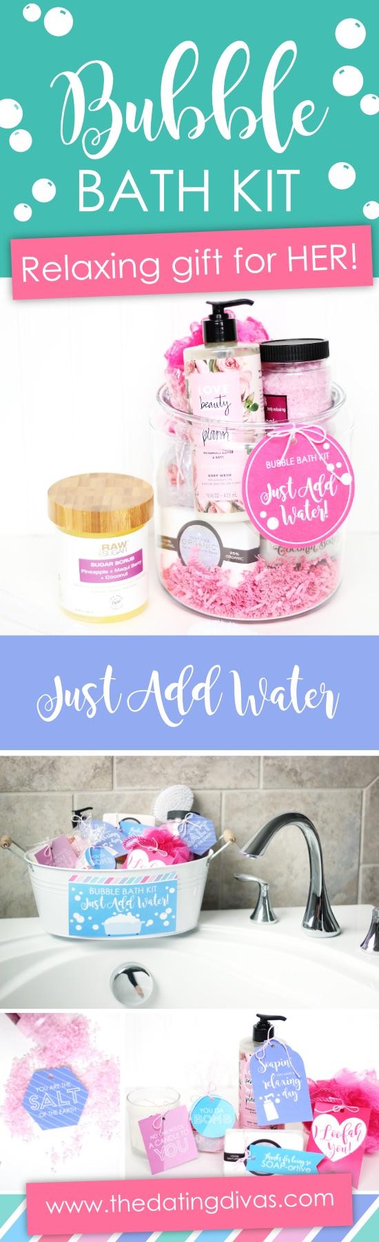 Bubble Bath Relaxing Gift For Mom #relaxinggiftformom #mothersdaygift #bubblebathkit #giftbasketformom #stressreliefgiftformom