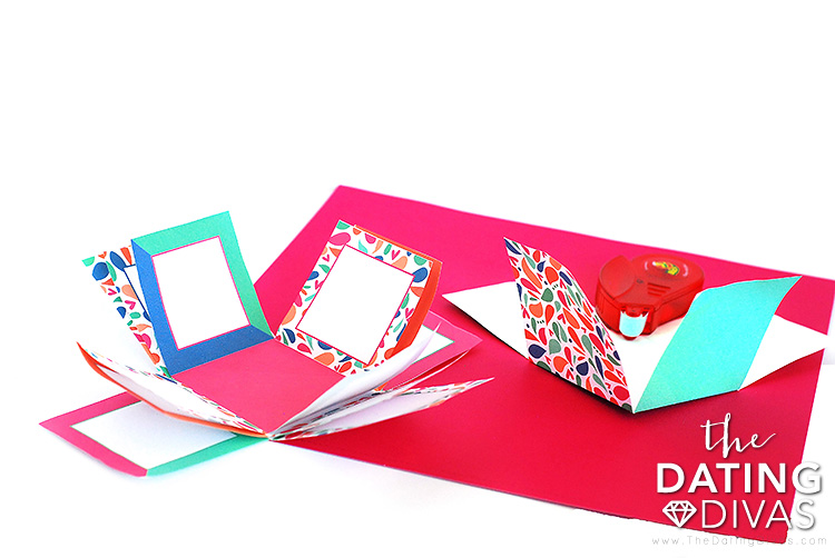 Folding step of a DIY picture box gift.  | The Dating Divas