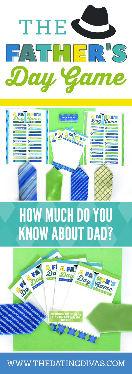 Looking for fun Father's Day Activities and Father's Day Game? This is a fun Father's Day Idea with get-to-know-you questions about dad! It is a fun twist on the Newlywed Game where your family members will all try to answer get to know you questions about dad and see if they can guess how dad will answer!#fathersday #fathersdaygame #fathersdayidea #datingdivas