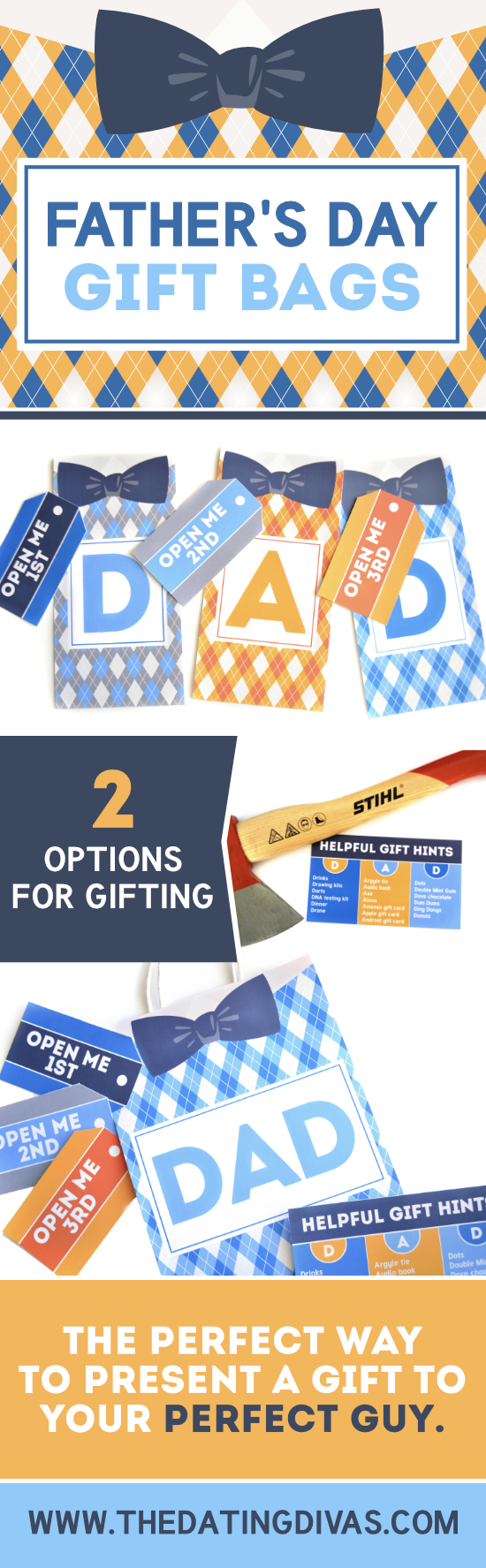These are the cutest Father's Day Gift Bags from www.thedatingdivas.com! I can't wait to spoil the man who made me Mom! #FathersDayGifts #FathersDayGiftBags #FathersDayGiftIdeas #TheDatingDivas
