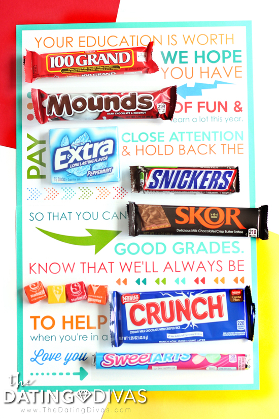 Back to School Candy Gram Note