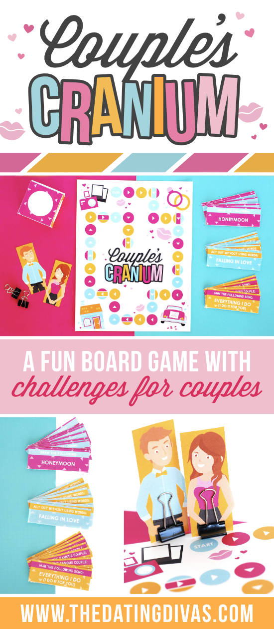Couple's Cranium is a fun and flirty date night game that you can play with your spouse. This fun twist on the game Cranium includes three unique marriage-themed challenges. This date night game is perfect for an easy date night at home with your spouse and includes everything you need in a printable download. #datenightgame #couplescranium #craniumdatenight #athomedatenight #datingdivas