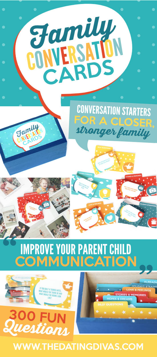 300 conversation topics of fun family questions & prompts to start talking together. Make a new family tradition of getting to know each other better! #kidsconversationtopics #funfamilyquestions #parentchildcommunication