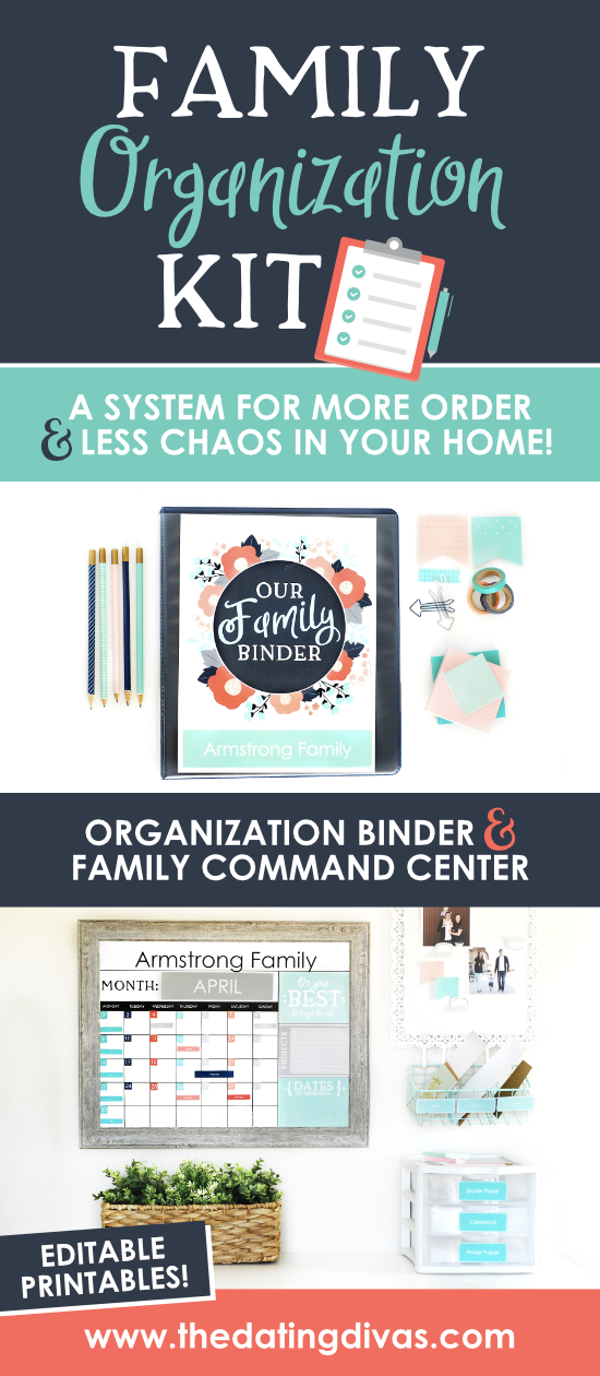 Loaded with family organization ideas and, most importantly, resources to customize your own family command center. The Family organization kit includes editable binder pages for a customized family home management binder plus dozens of calendar options to download for a completely personalized family command center. #commandcenter #familyorganizationideas #familycommandcenter #commandcenterideas #organizationideas #datingdivas