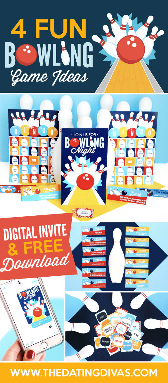 4 totally fun bowling games for you to try the next time you head to the alley. Each of these uniquely fun bowling ideas have gorgeous free printables all ready for you to just print and play including Bowling Bingo, Crazy Bowling, Truth or Dare Bowling and more! #funbowlingideas #funbowlinggames #bowlinggames #crazybowling #bowlingbingo #bowlingideas #datingdivas