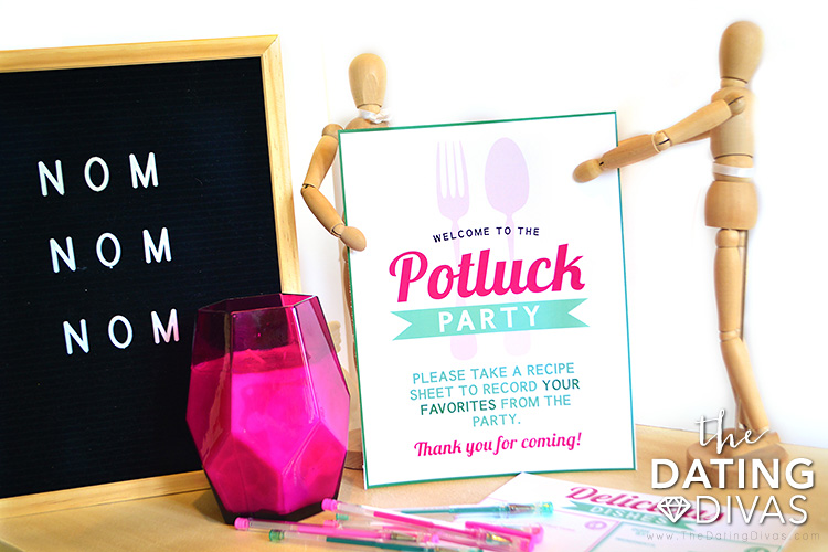 Potluck Ideas Welcome Sign and Recipe Catcher