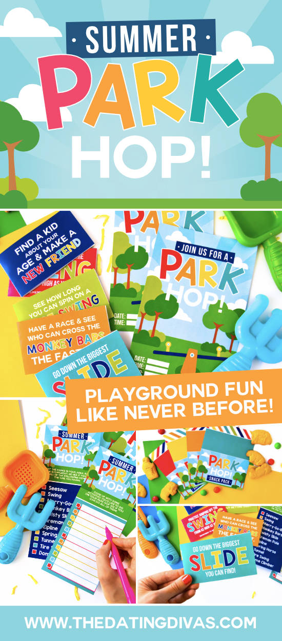 The kids will never be bored outdoors again! Summer Park Hop playground game ideas that will keep everyone busy for hours. #playgroundgames #funactivitiesforkids #partyinthepark #thedatingdivas