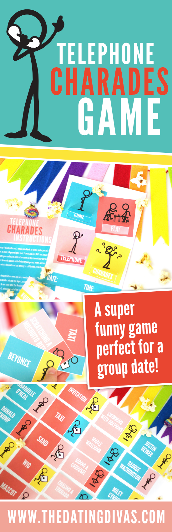 This is a great idea, it will make for a hilarious group game night!! Telephone charades is so much fun, we will all be rolling on the floor laughing! #gamenight #charadesideas #partygames #telephonecharades