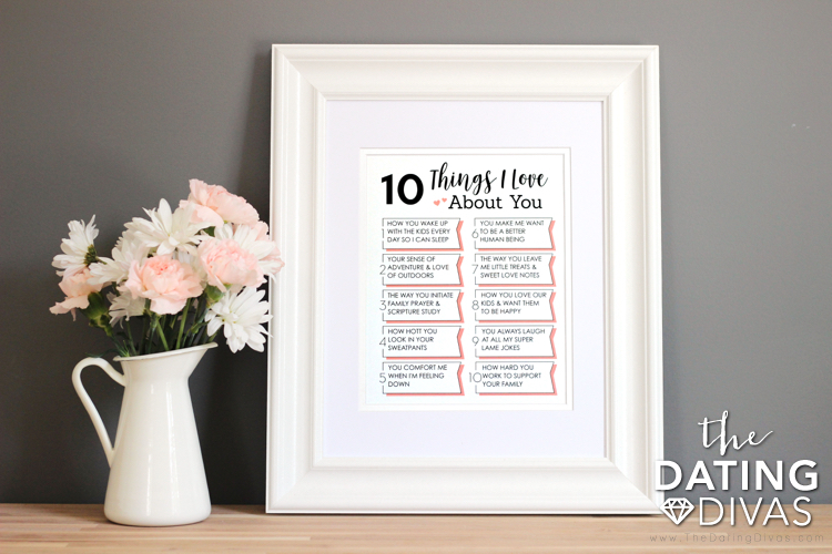 10 Things I Love About You Wall Art for Couples