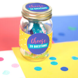 Mason Jar full of 20 questions for couples