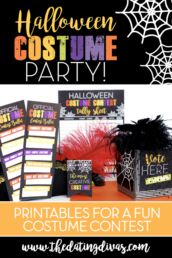Halloween costume party printables to host a thrilling Halloween party with all of your friends! We have a free printable download for everything you need for a fun costume contest plus a digital invitation to make party planning easy. #CostumeContest #CostumeParty #HalloweenIdeas #DatingDivas