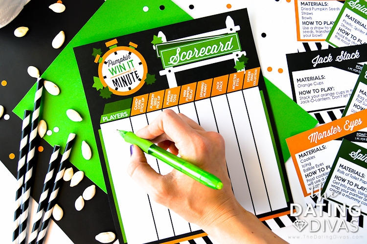 Halloween Minute to Win It Games Scoresheet