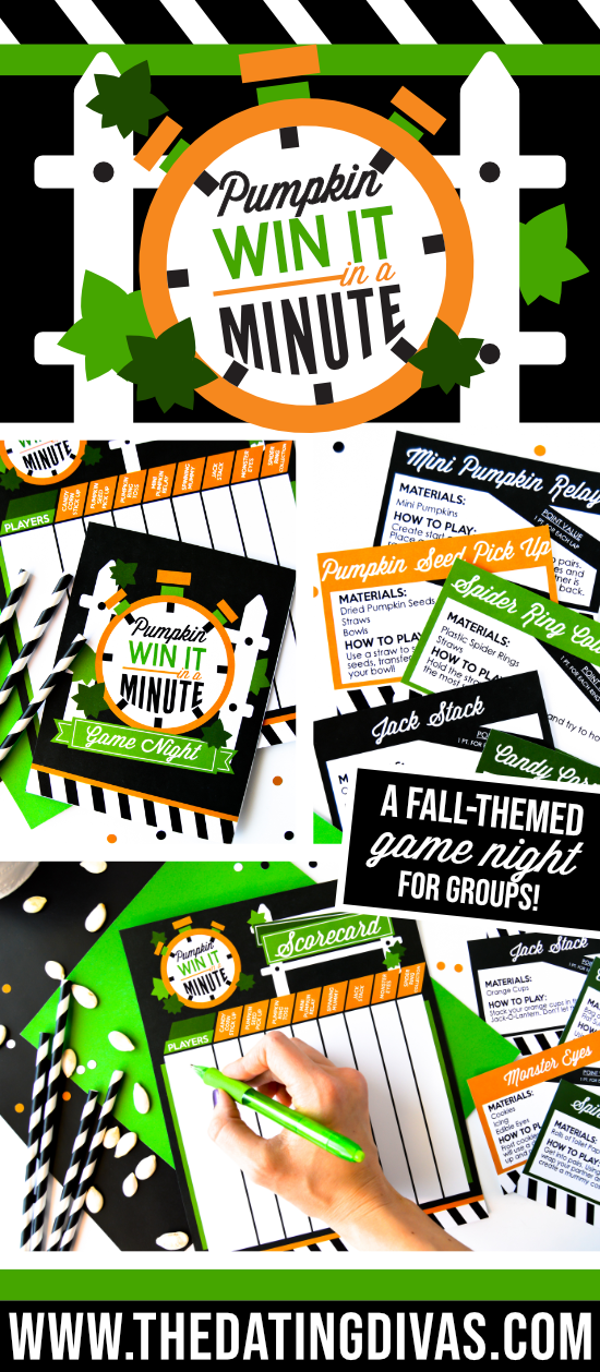 Super FUN Halloween Minute to Win It Games and Pumpkin Games!!! Perfect for Fall! #pumpkingames #halloweenminutetowinitgames #thedatingdivas