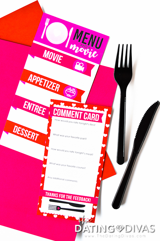 Romance Movie Date Menu