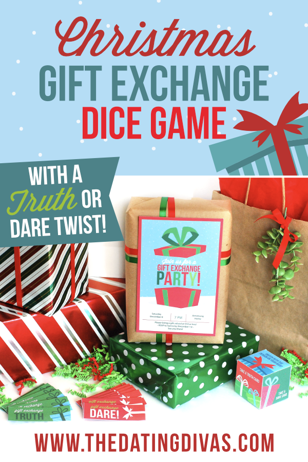 A unique Christmas gift exchange game that is perfect for a Christmas party! This gift exchange dice game has your guests swapping gifts with each roll of the die! PLUS fun truth or dare tasks to complete makes this gift exchange totally unpredictable and fun! #GiftExchange #GiftExchangeGames #GiftExchangeIdeas #DatingDivas