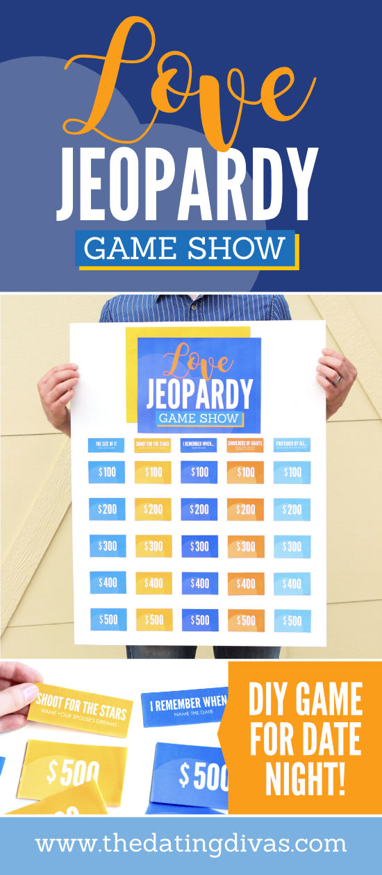 LOVE Jeopardy Game Show!! So fun! Can't wait to do this fun and easy date night idea! #DIYJeopardy #DateNightIdea #TheDatingDivas