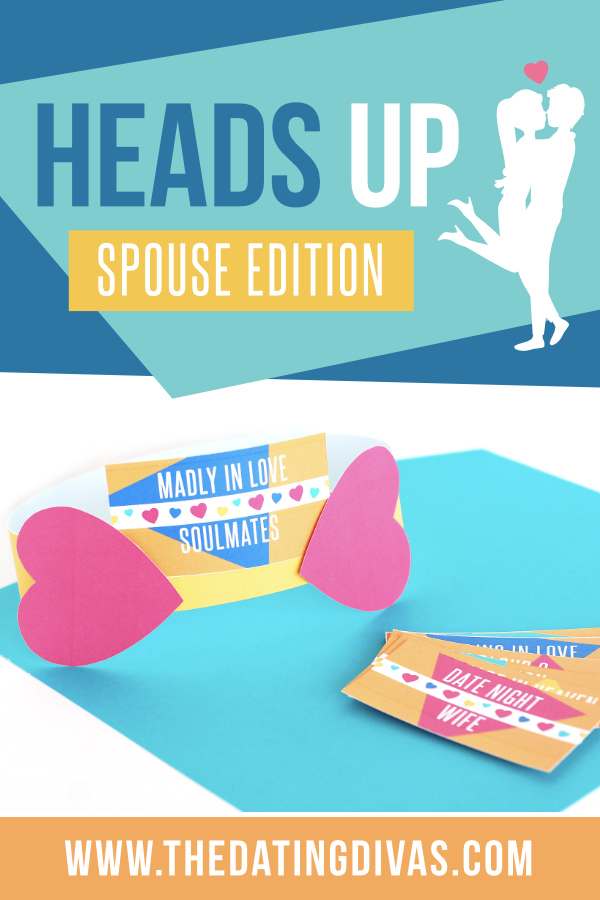 This is a MUST do date night! The Heads Up Game is a hilarious guessing game where you try to guess the word on a card placed on your forehead! In this special spouse edition - all of the words you are guessing have to do with love and marriage. The Heads Up Game is perfect for a date night at home! #datenight #datenightathome #headsupgame #foreheadgame #datingdivas