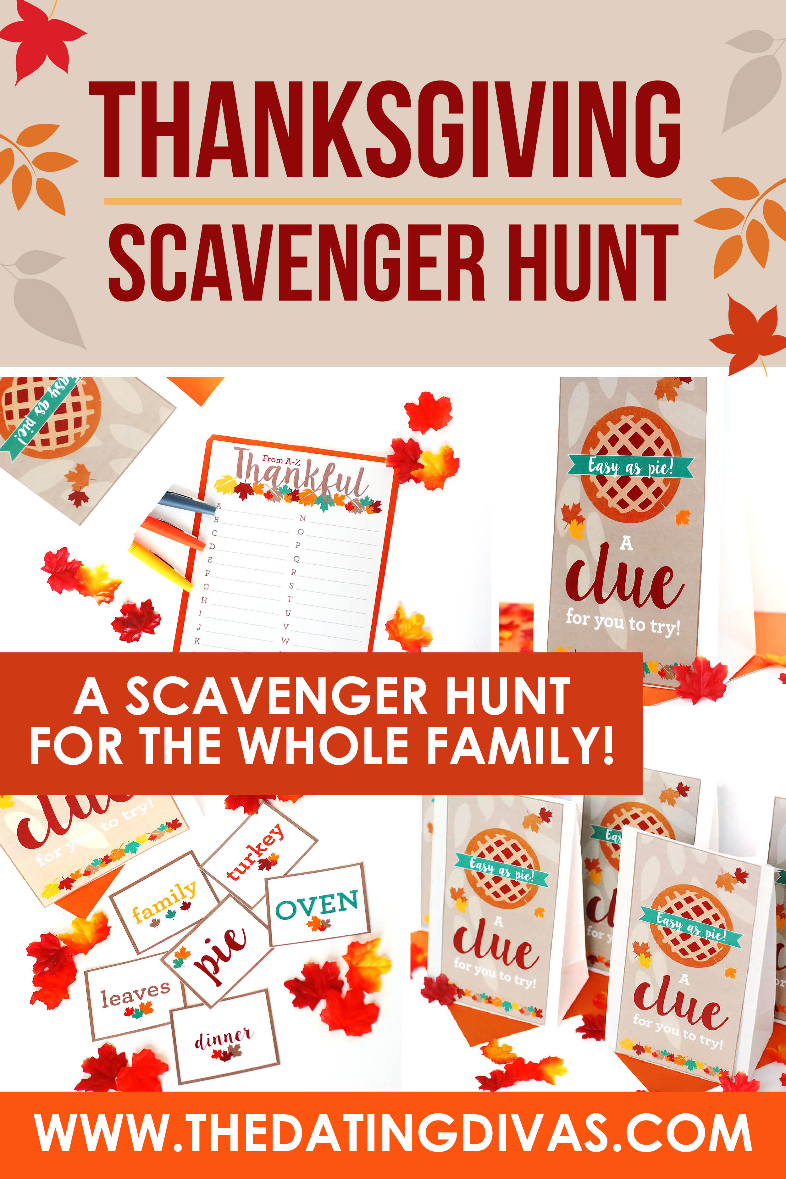 So many cute Thanksgiving Scavenger Hunt ideas that are perfect for young and old alike!! Looks like so much fun! #thedatingdivas #thanksgivingscavengerhunt #thanksgivingriddlesforadults #thanksgivingtreasurehunt