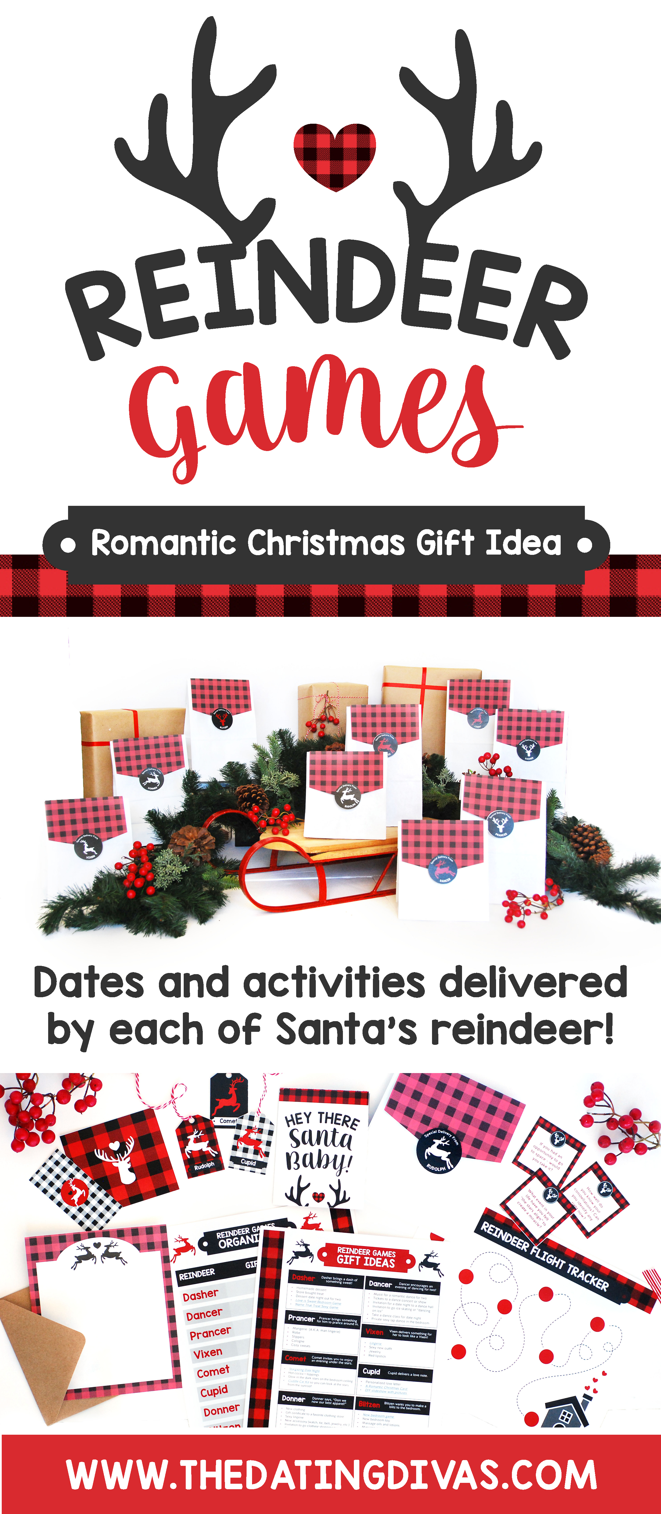 Reindeer Games Christmas Gifts Ideas: Finding romantic Christmas gift ideas for your spouse can be tricky, but we have everything you need for a memorable and magical Christmas holiday with these Reindeer Games! Each of Santa's nine reindeer bring special deliveries in the form of customized Christmas date nights and Christmas gifts for your sweetheart! #ChristmasGifts #ChristmasDate #ReindeerGames #Dating Divas