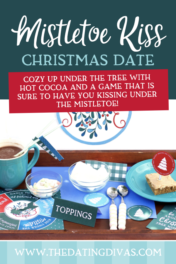 Instantly bring the magic of the Christmas season with a Christmas date complete with a mistletoe kiss! #kissingunderthemistletoe #mistletoekiss #christmasdate #datingdivas