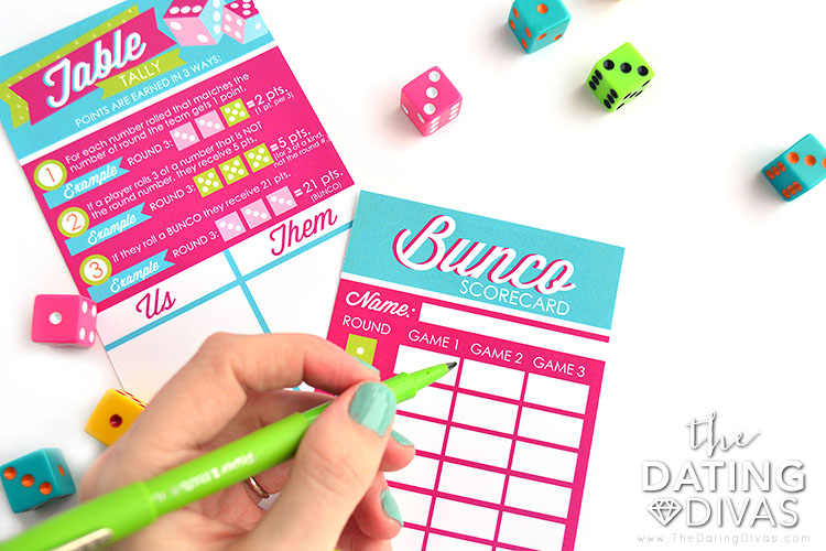 Bunco Group Date Night Score Card and Tally