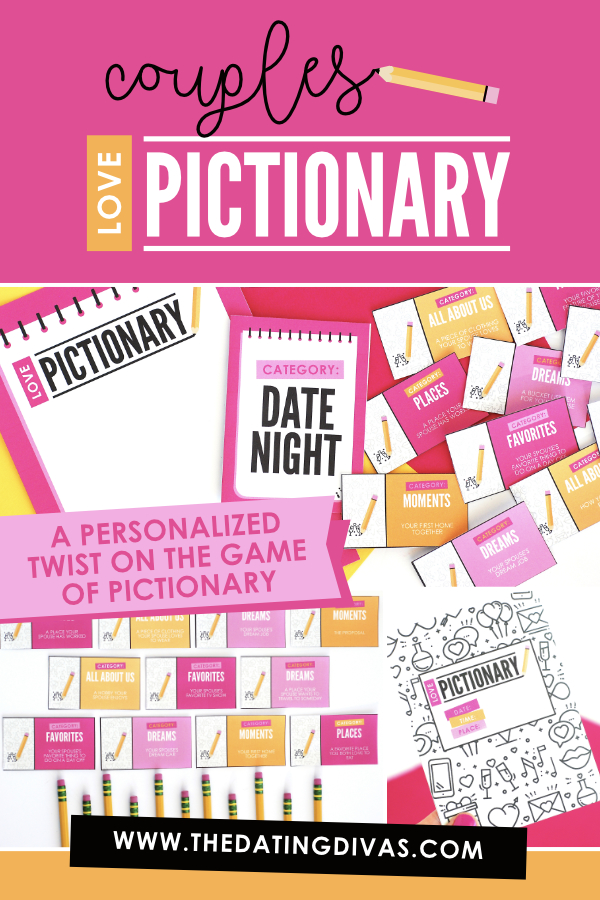 A fun Pictionary game with a personalized twist in which couples are given prompts for what to draw rather than a specific item. Perfect for a date night at home #pictionarygame #lovepictionary #datingdivas #athomedate