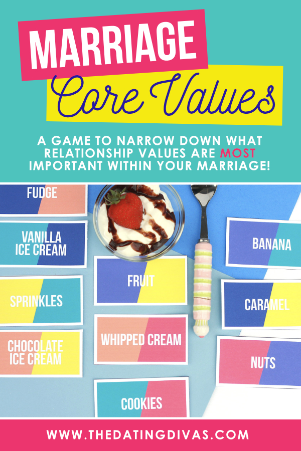 Improve your marriage now! Play the Core Values Couples Game and figure out how to get more out of your marriage! #corevalues #listofvalues #sharedvalues #couplesgame #datingdivas