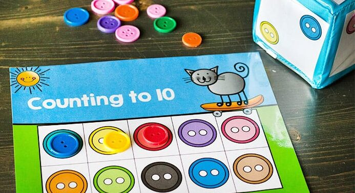 Counting Preschool Worksheets with Buttons | The Dating Divas