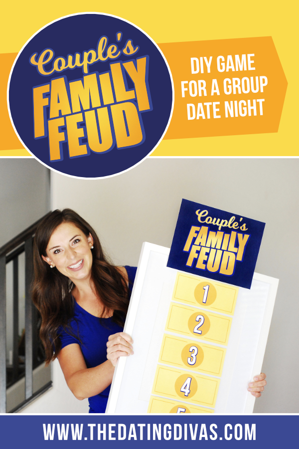 "A Family Feud game for a hilarious couple's date night! Play this version of the popular game show ""Family Feud"" right from your home. The free printable download includes 30 surveyed questions dealing specifically with love and marriage! #DateNight #FamilyFeud #DatingDivas"