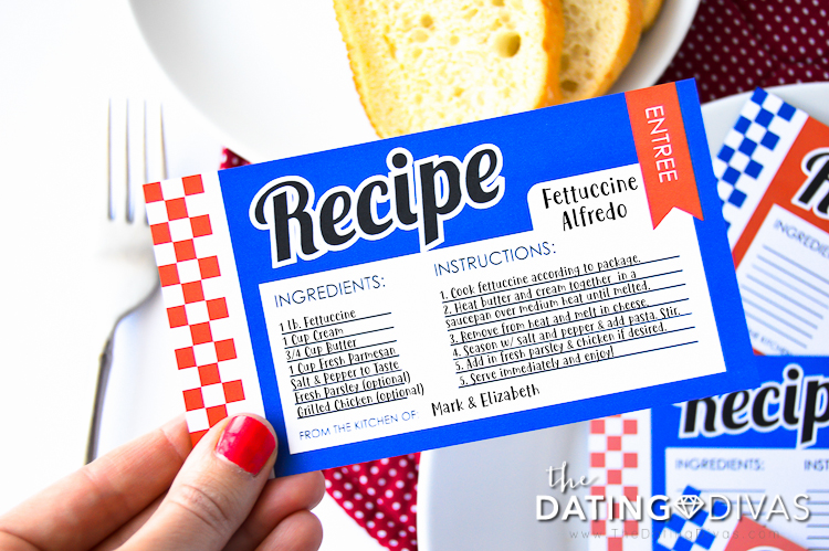Gourmet Dinner Party Date Recipe Card