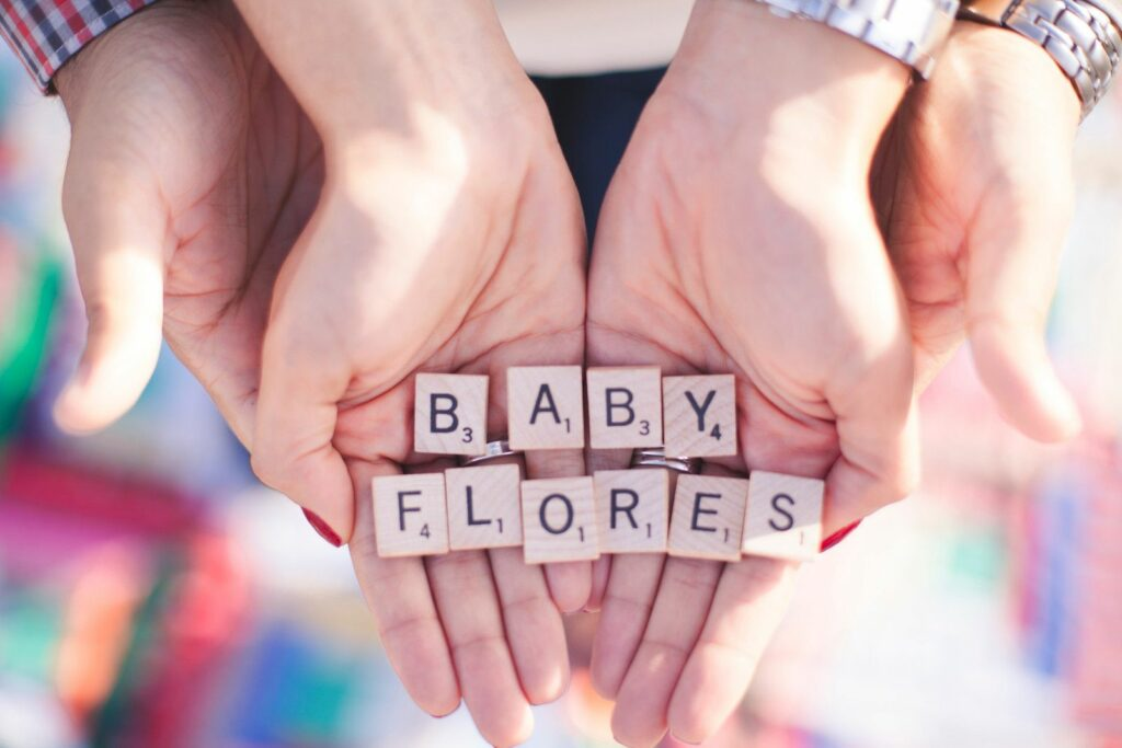 Scrabble Tiles Announcing Baby Name